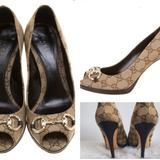 Gucci Shoes | Gucci Open-Toe Brown Canvas Print Heels Sz 6.5 | Color: Cream/Tan | Size: 6.5