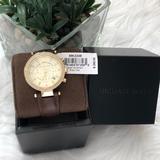 Michael Kors Accessories | Parker Chronograph Quartz Gold Dial Watch | Color: Brown/Gold | Size: 39mm
