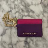 Michael Kors Accessories | Michael Kors Card Case Key Chain Wallet | Color: Pink/Purple | Size: 4x3