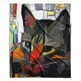 Red Barrel Studio® Extine Abstract Cat Velveteen Blanket in Black/White, Size 88.0 H x 88.0 W in   Wayfair 0DCB666709AD48BD8038C5F2666DB97C
