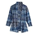 Women's Alfred Dunner Three-Quarter Sleeve Burnout Two-For-One Top, Denim Ikat L Misses