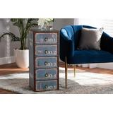 Baxton Studio Alba Vintage Rustic French Inspired Blue Finished Wood 5-Drawer Accent Storage Cabinet - Wholesale Interiors SJ14502-Blue-5DW-Cabinet