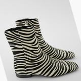 Zara Shoes | New Zara Flat Animal Print Leather Ankle Boots 36 | Color: Black/White | Size: 6
