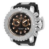 Invicta Men's Sea Hunter Stainless Steel Swiss Quartz Watch with Silicone Strap, Black, 30 (Model: 32652)