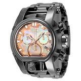 Invicta Men's Reserve Bolt Zeus Magnum Swiss Quartz Watch with Stainless Steel Strap, Titanium, 34 (Model: 34132)