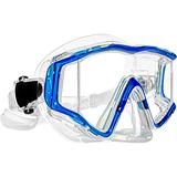 EVO Tiburon+ 3-Lens Panoramic Dive Mask with Purge Valve - Panoramic Diving Mask - Panoramic Diving Masks for Adults - Scuba Mask - Scuba Diving Mask - Freediving Mask (Clear/Blue)