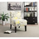 BOWERY HILL Contemporary Style Accent Chair in Pattern Fabric (Bike)