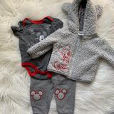 Disney Matching Sets   Baby Disney Mickey Mouse 3pc Matching Outfit   Color: Gray/Red   Size: 6-9mb