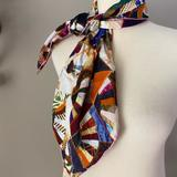 Anthropologie Accessories   Anthropologie Abstract Square Silk Neck Scarf   Color: Blue/Red   Size: Os