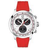 Tissot Men's PRC 200 Gent Chr Qua 316L Stainless Steel case Swiss Quartz Silicone Strap, Red, 20 Casual Watch (Model: T1144171703702)