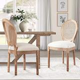 Recaceik Farmhouse Dining Chairs 2 PCs, French Bedroom Side Chairs with Rattan Round Back, Wood Legs Finish, Elegant Accent Kitchen Chairs for Dining Room/Living Room/Restaurant, Set of 2, Beige