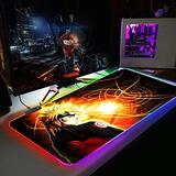 """Mouse Pads Cool Anime Naruto Large Computer Keyboard Mat RGB Led Glowing Mouse Pad Gamer Gaming Luminous Mousepad XXL USB for PC Game 11.81""""x35.43"""""""