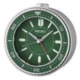 Seiko Mai Analog Quartz Alarm Tabletop Clock Plastic/Acrylic in Green, Size 3.74 H x 1.97 W x 3.7 D in | Wayfair QHE184MLH