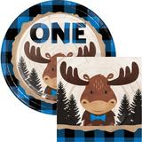 Creative Converting Buffalo Plaid Moose Party Supplies Kit for 24 Guests Paper in Blue/Brown | Wayfair DTC6155E2C