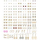 Thunaraz 90Pairs Assorted Stud Earrings Set for Women Men Bar Star Moon Geometric Arrow Flower Bow CZ Ball Faux Pearl Drop Statement Small Stud Earrings Set