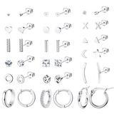 Thunaraz 18Pairs 316L Stainless Steel Star Moon Stud Earrings for Women Men Cute CZ Inlaid Stud Earring Set Huggie Hoop Cuff Earrings Ear Piercing Set…