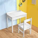 PUTEARDAT Kids Desk and Chair Set for 8-12, Wooden White Office Table with Drawers Suitable for Room Bedroom School, Bookstand for Boys & Girls