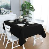 FOLINS&HOME Black Rectangular Table Cloth in Heavy Duty and Water Resistant Polyester-Wrinkle Free Spillproof and Washable Tablecloths 60 x 102 inch-Table Cover for Indoor and Outdoor-Oblong/Rectangle