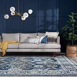 Shiloh Denim 8x10 Rectangle Area Rug for Living, Bedroom, or Dining Room - Traditional, Floral