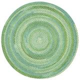 Highland Dunes Veans Braided Cotton Blue/Green Area Rug in Blue/Brown/Green, Size 90.0 H x 90.0 W x 0.5 D in | Wayfair