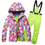 LFFCC Snow Skiing Sets Jacket/Trouser Suits for Women, Snowboard & Ski Suit, Warm Snowsuitoutdoor Ski Sports Hooded Ski Suits Set, Skiing Gear,Green,M