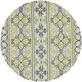 Highland Dunes Waut Hand-Woven Ivory Indoor/Outdoor Area Rug Polypropylene in White, Size 94.0 H x 94.0 W x 0.25 D in | Wayfair