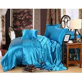 Silk Satin Sheets Set   Silk Satin Sheets Set California King   California King Sheets Set Turquoise Blue   Silk Fitted Sheet 24 Inch Deep Pocket   4 Pc Sheet Set   Silk Flat Sheet & Pillowcases Set.