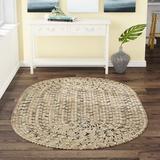 Highland Dunes Webrook Hand Braided Beige RugPolypropylene in Brown/White, Size 102.0 H x 102.0 W x 0.38 D in | Wayfair