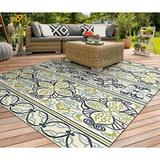 Highland Dunes Waut Hand-Woven Ivory Indoor/Outdoor Area Rug Polypropylene in White, Size 132.0 H x 96.0 W x 0.25 D in | Wayfair