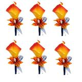Angel Isabella, LLC Boutonniere - Orange and Dark Navy Real-Touch Calla Lily with Silk Orchid (Orange Calla Lily 6pc)