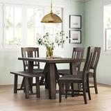 Sand & Stable™ Ernie 6 - Piece Acacia Solid Wood Dining SetWood/Upholstered Chairs in Brown/Gray, Size 30.0 H x 36.0 W x 66.0 D in | Wayfair