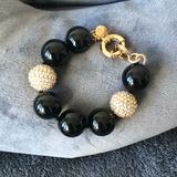 J. Crew Jewelry   Jcrew Large Black Beaded Bracelet With Pave Accents   Color: Black/Gold   Size: Os