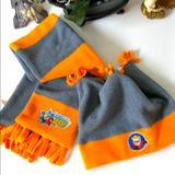 Disney Accessories | Dash Beanie & Scarf Set | Color: Gray/Orange | Size: Sm