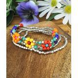 ZAD Women's Bracelets Bright - Red & Silvertone Bright Floral Stretch Bracelet Set