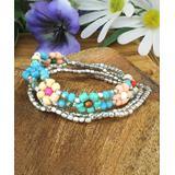 ZAD Women's Bracelets Pastel - Teal & Silvertone Pastel Floral Stretch Bracelet Set