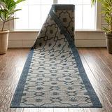 "Custom Size Indoor/Outdoor Runner-Choose Your Length-Sunna Blue & Beige Flat-Weave Moroccan Trellis Pattern 31 Inch Wide x 15 Feet Long Runner (31"" x 15' Runner) Rug"
