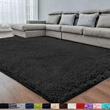 Black Super Soft Area Rug for Bedroom,8x10,Fluffy Rugs,Shag Rugs for Living Room,Big Rug,Furry Rugs for Girls Boys Room,Shaggy Rug for Kids Baby Room,Nursery,Dorm,Anti-Slip Rug,Black Carpet,Rectangle