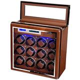 High-end Watch Winder for 12 Watches + 6 Storage Spaces in Walnut Shell Lockable Automatic Watches Box with LCD Display, Touch Control and Interior Backlight for Watch Collector