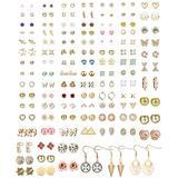 Thunaraz 99Pairs Assorted Stud Earrings Set for Women Men Bar Star Moon Geometric Arrow Flower Bow CZ Ball Faux Pearl Drop Statement Small Stud Earrings Set