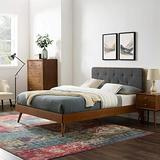 Modway Bridgette Wood Twin Platform Bed in Walnut Charcoal with Splayed Legs, Single