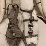 Nine West Shoes | Jeweled Snakeskin Ankle Strap Heels | Color: Brown/Gray | Size: 8