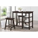 Red Barrel Studio® Filoftea 3 - Piece Counter Height Dining Set Wood in Brown, Size 36.0 H x 19.0 W x 43.0 D in | Wayfair