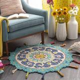 Mistana™ Baby & Kids Currie Floral Handmade Tufted Wool Teal/Sea Foam Area Rug Wool in Blue/Brown/Green, Size 96.0 H x 96.0 W x 0.5 D in | Wayfair