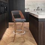 Wade Logan® Leyva Swivel Counter & Bar Stool Wood/Upholstered/Leather/Faux leather in Gray, Size 39.0 H x 19.0 W x 20.0 D in | Wayfair