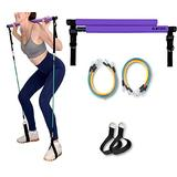 Portable Pilates Stick Yoga Exercise Pilates Bar, Yoga Pilates Bar Reformer Kit, Pilates Bar Kit with Resistance Band,Home Gym Pilates with Foot Loop for Total Body Workout (New-Purple- Pilates)