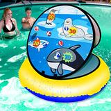 "LONYKIBEE Pool Games Inflatable Ring Toss Game for Adults Kids,Swimming Pool Floating Ball Toss Game 24"" Pool Toys with 6 Ball for Teens Pool Ball Beach Toy Yard Game Party Favors Game"