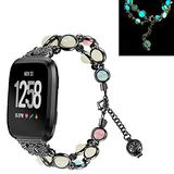 TWBOCV Metal Strap Compatible with Fitbit Sense Women/Girls, Fixed Size 5.5-7.5 inch,Handmade Fashion Beaded Elastic Bracelet Band Replacement Strap for Fitbit Versa 3 /Sense (E02)