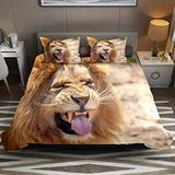 FOLPPLY Duvet Cover Set, California King Bedding Set 3 Pieces, Funny Animal Lion Comforter Sheet Set with Pillow Shams Room Decor for Boys Girls Teens Adults