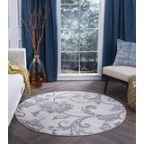 Garland Cream 8 Foot Round Area Rug for Living, Bedroom, or Dining Room - Transitional, Floral