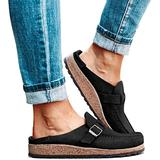JFFFFWI Flat Mule Sandals Women's Fashion Summer Clogs Suede Flat Slipper Round Toe Backless Slip on Loafer Shoes Comfy Closed Toe Lady Flat Shoes for Women,Black,39
